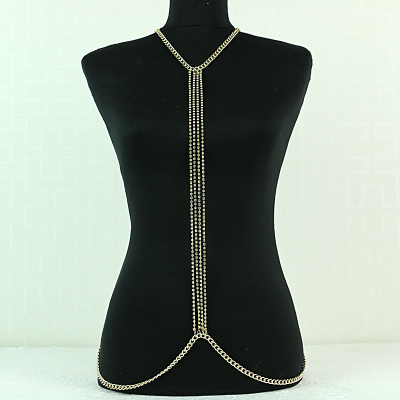 Simple Rhinestone Four Necklace Body Chain Chest Chain Accessories