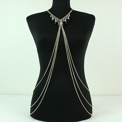 Lady's Long Multilayer Crystal Chains Pendant Jewelry Body Chain