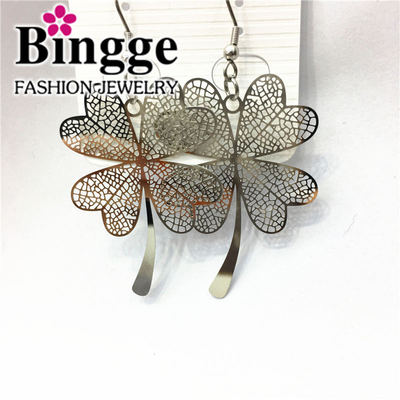 Lucky clover stainless steel earrings earrings