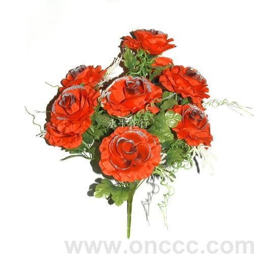 仿真大红玫瑰花束用仿真树枝,树叶