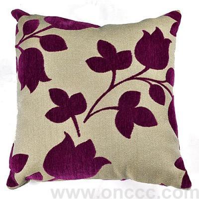 Purple linen cloth flocking pillow.