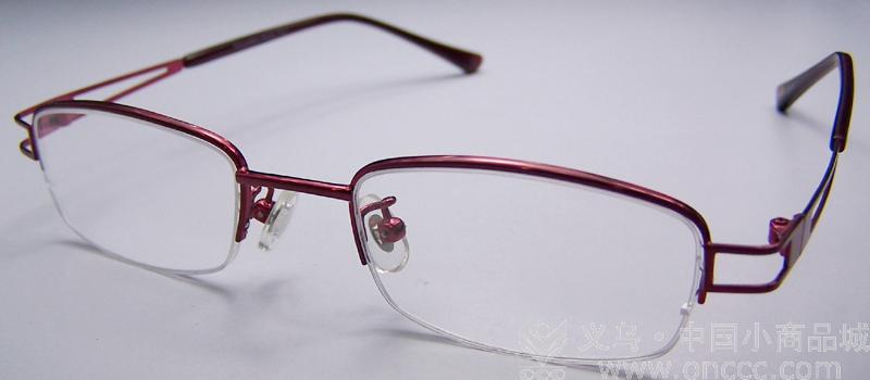 紫色方形半边框眼镜