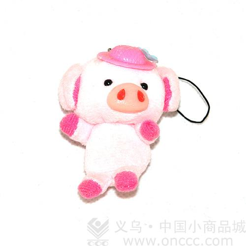 生产的超可爱的卡通小猪毛绒挂件018,小猪的头上戴着一顶粉红的帽子.
