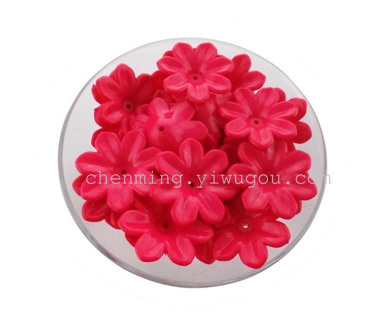 饰品配件 diy手工七瓣花朵中孔实色花托亚克力 32mm