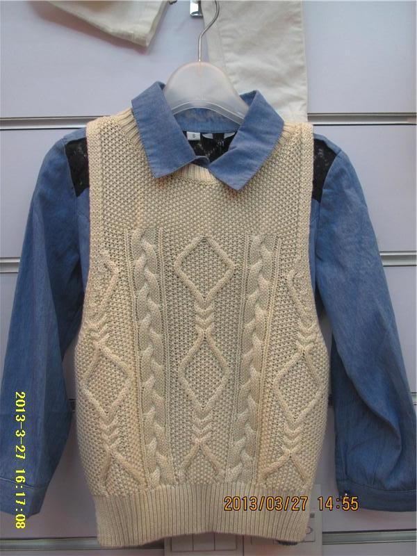 童装拼接牛仔衬衣 线衣背心两件套