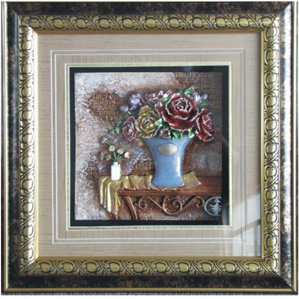 树脂浮雕画 装饰画 酒店家装画 欧式 花卉花瓶 玻璃