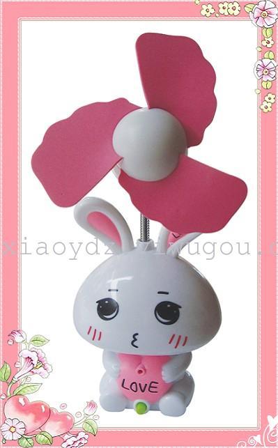可爱卡通小兔子风扇 充电储电式小电扇 夏季迷你小风扇