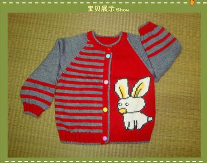 童装儿童手工编织毛衣,兔子开衫女孩女童