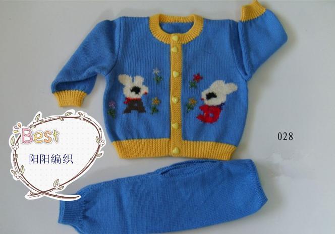 童装儿童手工编织毛衣小兔子开衫毛衣圆领毛衣单排扣