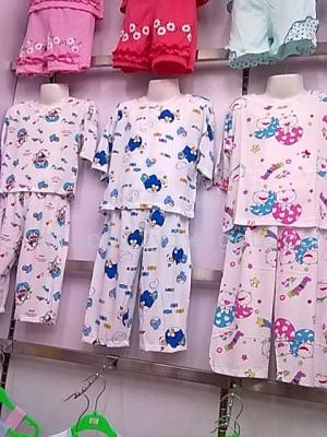 Summer air conditioning service children in cotton cuff Capris pajamas