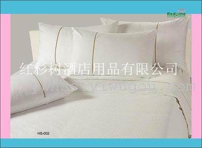 Factory direct bedding set of six five-star hotels all cotton 1cm Jacquard Kit red/white cedar