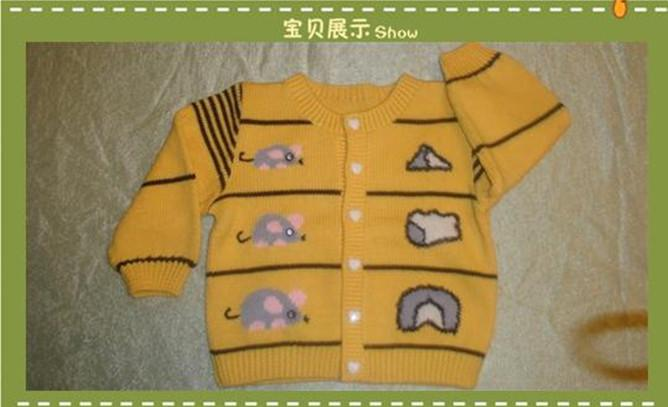 儿童 手工编织毛衣 小老鼠 开衫毛衣圆领毛衣单排扣