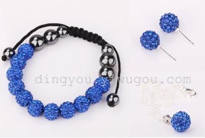 """Retail"" Western stars full rhinestone jewelry Necklace Bracelet earrings gift set ages 5236 Royal Blue"