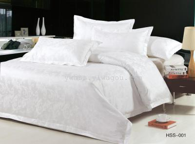 [redwood] four-piece set of cotton satin satin satin stripe solid color jacquard for hotel bed
