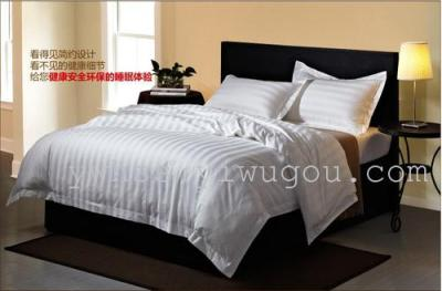 Factory direct Hotel 40 60 stripe four piece set hotel bedding