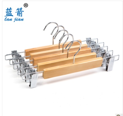 Lanjian iron plastic clips stretchy pants hanger wooden pants rack