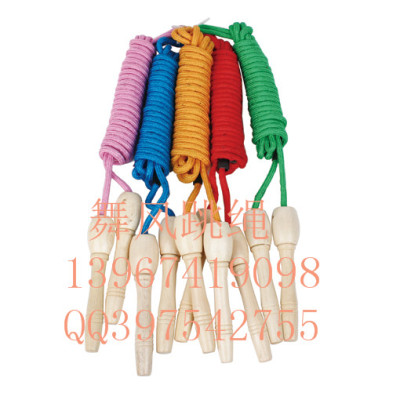 Massage handle jump rope with wooden handle count cotton jump rope skipping