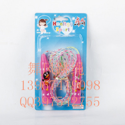 Tests the standard bearing sponge massage handle child count cotton jump rope with wooden handle PVC skipping rope