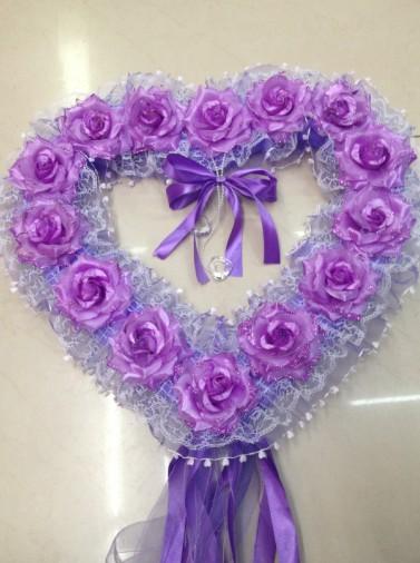 紫色心形花环 汽车装饰 礼品 婚庆 厂家直销