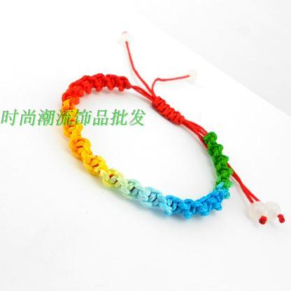五彩绳手链 五彩线手工编织绳 端午节彩色手链