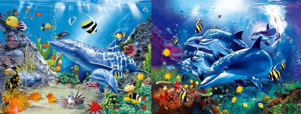 义乌市三维立体画海底世界海豚立体画批发,义乌3d立体