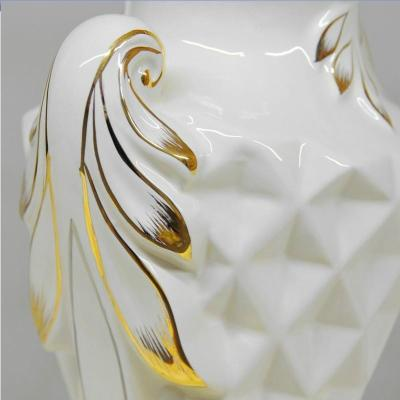Modern gold craft ceramic canister storage device home-white porcelain ornament 13141