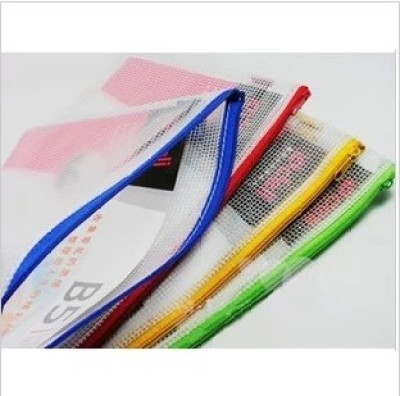 Office stationery special A4 mesh zipper bag color stationery bag PVC mesh bag.