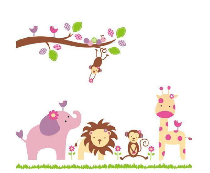 狮子大象猴子动物 儿童幼儿园环境装饰布置教室卧室卡通墙贴纸