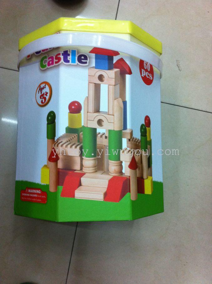 新款积木城堡 八角桶60片彩色木头 叠房子木头玩具