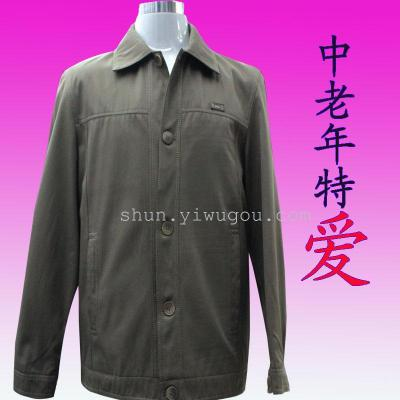 Middle-aged male collar men's leisure jacket buttoned lapel jacket