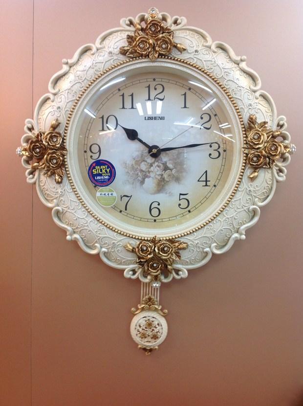 欧式田园挂钟客厅摆钟静音石英钟艺术创意时钟复古墙钟壁挂钟
