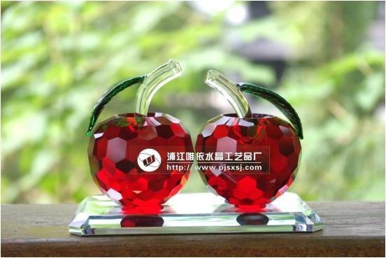 对对水晶苹果 汽车上摆件 水晶苹果 送女友水晶礼品