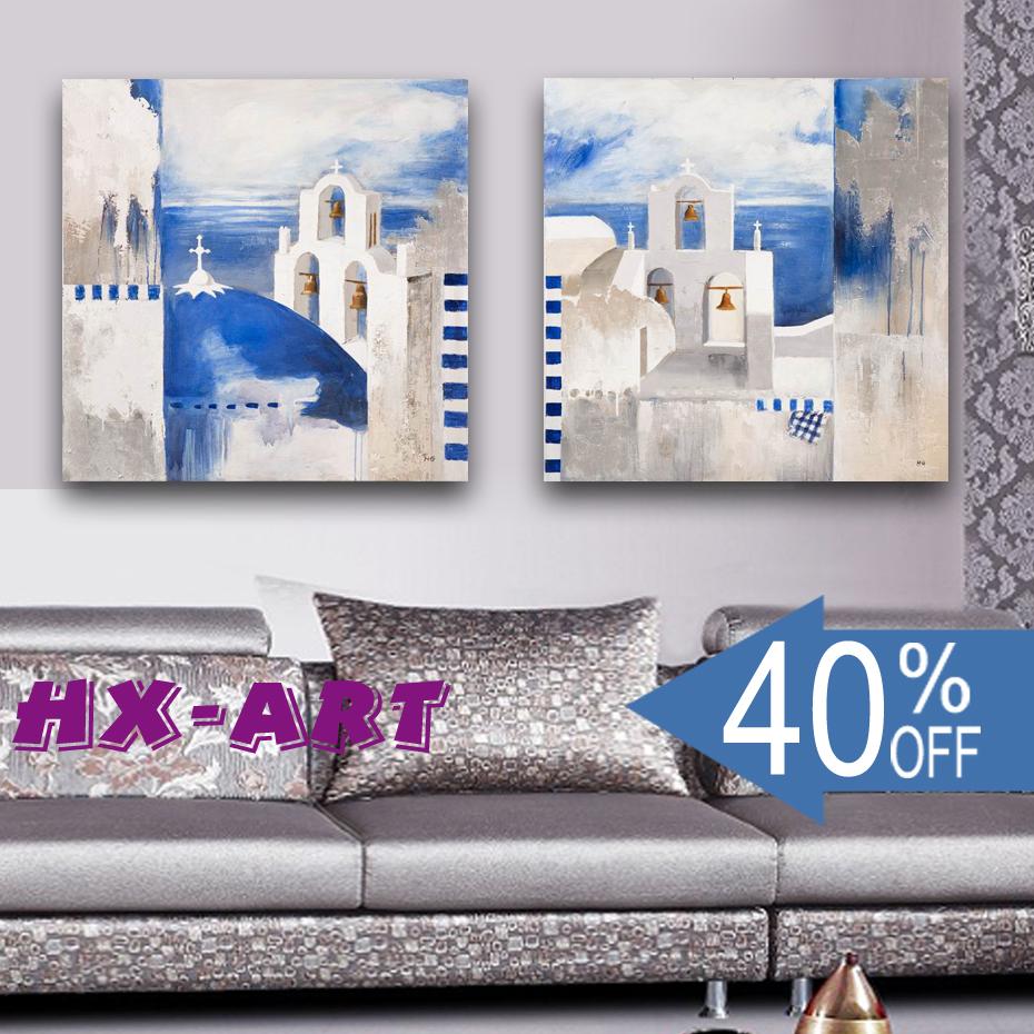 批发供应 油画 无框画客厅装饰画 两连地中海60x60cm