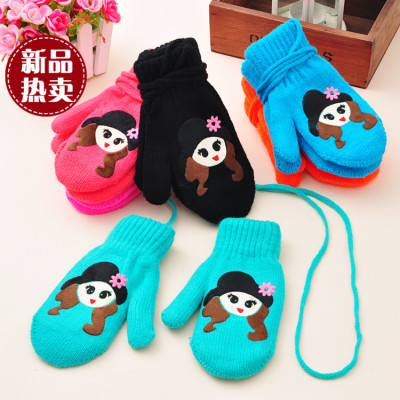 Korean girl cute black hat bun double gloves factory direct sales