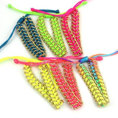 Europe Trade jewelry wholesale fluorescence colorful hand-woven aluminum chain bracelet