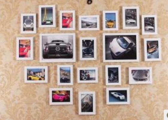 爱心照片墙 20框组合相框 婚纱照相框图片
