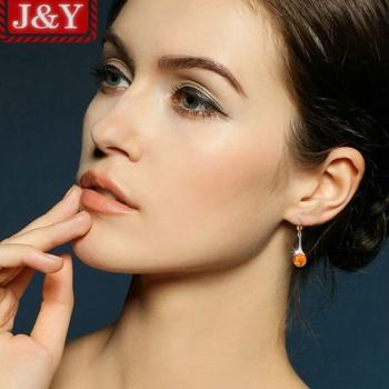 JY专柜正品 万年天然琥珀耳饰 防过敏925银耳钉