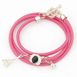 (Rose red), Korean fashion compact Eiffel Tower pendant multilayer bracelet AZ1404043