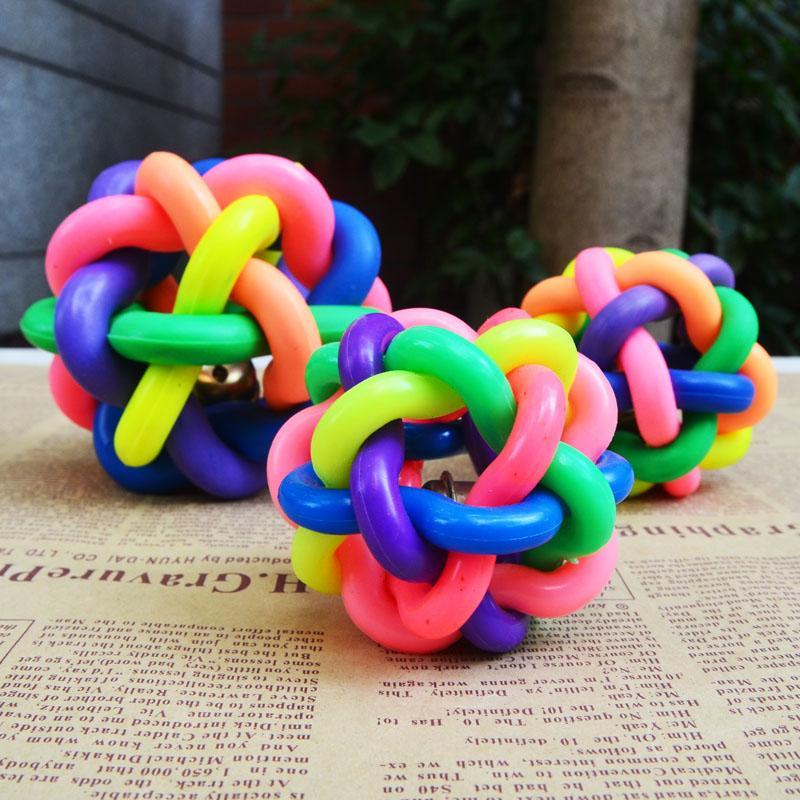 七彩铃铛橡胶球宠物玩具狗狗发声橡胶玩具球