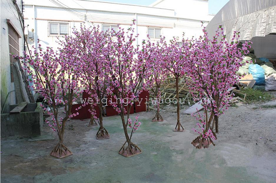 仿真真杆桃花树定做仿真植物假树真杆/玻璃钢杆/大型桃花树盆栽