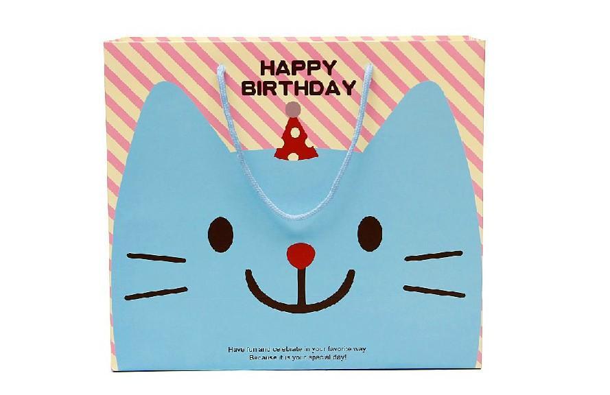 卡通可爱大号生日礼品袋纸袋 卡通小猫包装袋 回礼袋