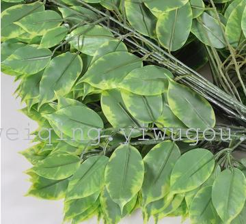 仿真黄边榕叶假榕树叶子批发人造植物造型树特色装饰盆景室内装饰