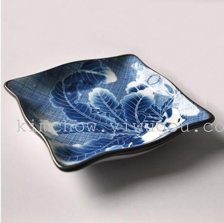 锦朝 日本和风陶瓷 可爱萝卜 波浪滚边方形碟/盘 小吃