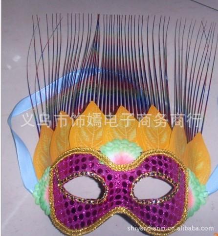 雨丝面具,舞会面具,派对面具,表演面具,树叶面具_ 彩