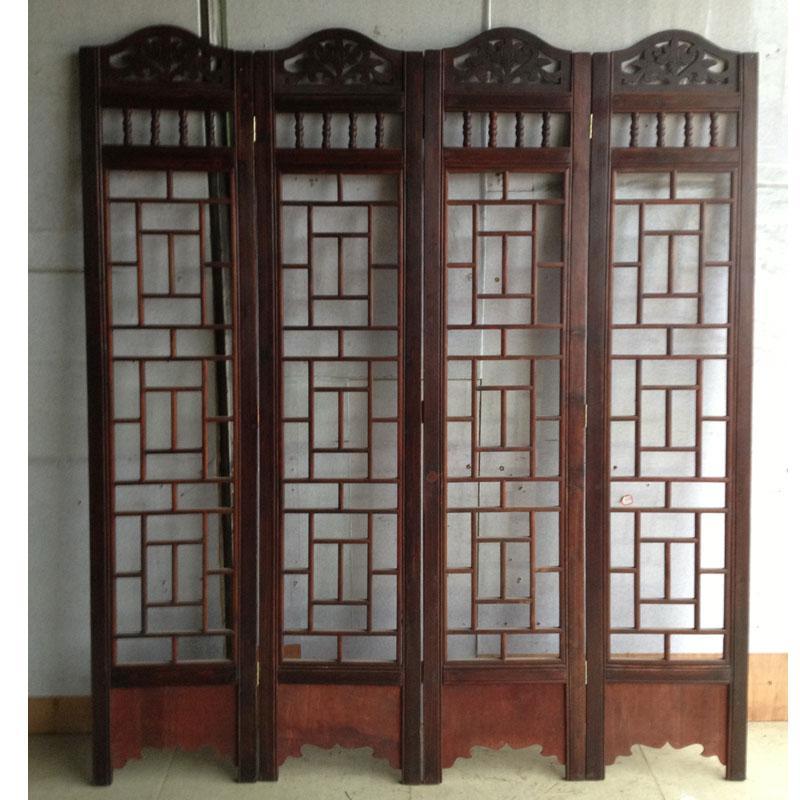 复古实木镂空手工雕刻四扇屏屏风 折屏 玄关隔断摆件