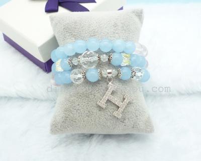 Blue gem creative letter h ring bracelet girl gift premium micro inlaid zircon bracelets exquisite workmanship