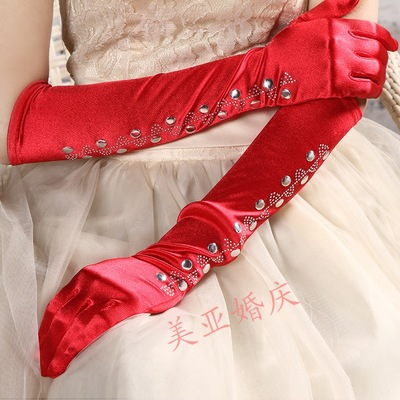 Rhinestones bridal fashion gloves etiquette wedding gloves dress gloves, sunscreen
