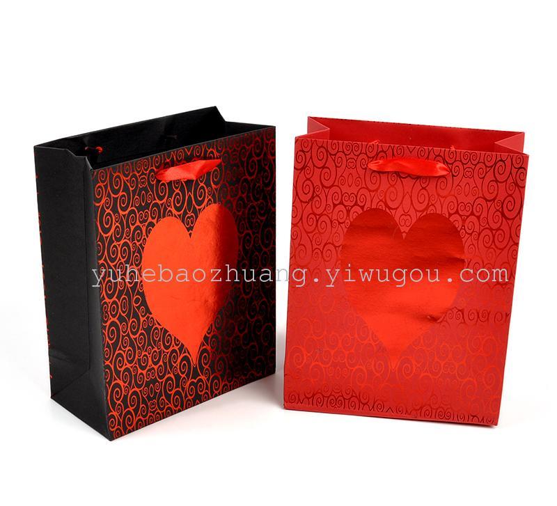 玫瑰花圆圈烫金黑红欧美礼品袋情人节爱心纸袋 可来样