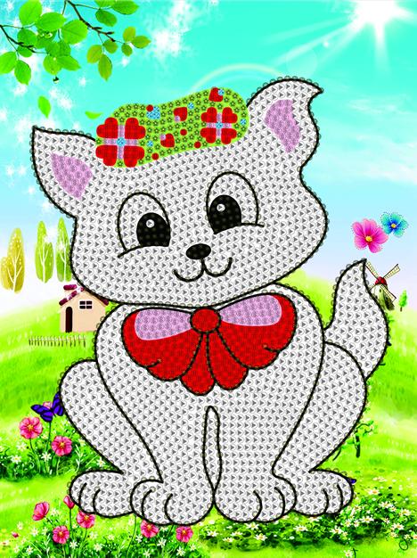 厂家直销最新款自带框架 儿童钻石画 手工猫咪