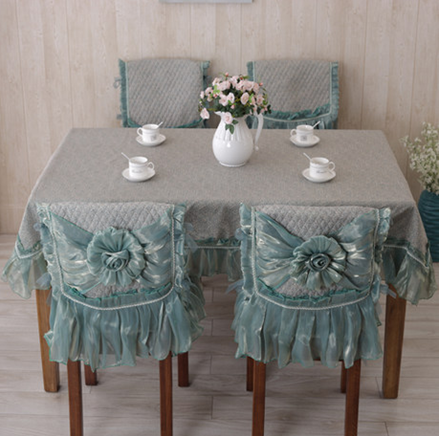 现代简约田园 餐桌布套装欧式椅垫椅套蓝色茶几布_ 七